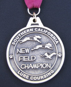 SoCalCoursing new FC medallion.  the dog at the top is Kanzu, Kuyu's sire.